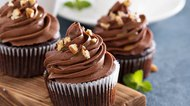 Chocolate caramel cupcake with nuts