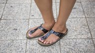 Woman wearing Birkenstock sandals