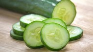 Fresh Cucumber  slices on wood background
