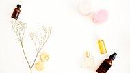 Flat lay for beauty blog, organic oils, cosmetics