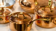 Copper cookware, pots and pans