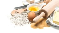 Food background Baking ingredients Wooden kitchen utensils