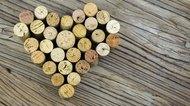 Wine corks form a heart shape image