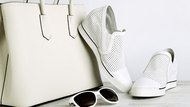 White leather handbag, shoes and sun glasses