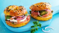 Bagels with salmon and cream cheese.