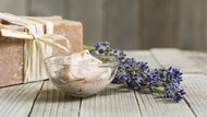 Soap, moisturizer and lavender