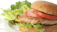 Healthy chicken burger with salad