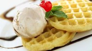 close-up of ice cream and waffles