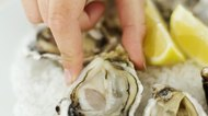 Close-up of a young woman's hand picking an oyster from a bed of ice