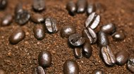 Whole coffee beans in ground coffee