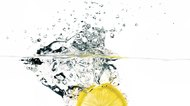 Fresh lemon slice splash