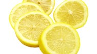 Lemon slices on white background