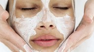 close-up of a woman getting facial treatment