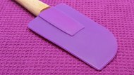 Closeup of purple silicone kitchen accessories