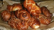 Basket with loaves of challah bred just after bakery