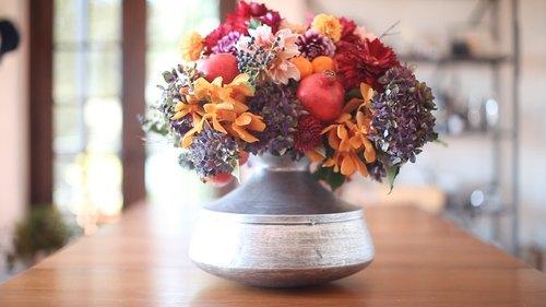 Vibrant Fall Floral & Fruit Arrangement