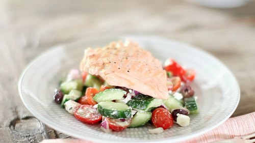 Greek Salad with Poached Salmon