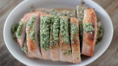 Walnut Pesto-Stuffed Pork Roast
