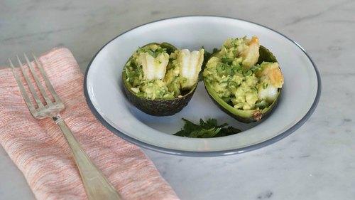 Stuffed Avocado with Garlic Shrimp