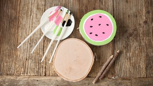 DIY Wood Slice Watermelon Coaster
