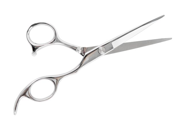 A single pair of silver haircutting scissors on a white back