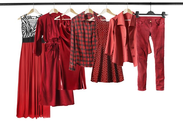 Red clothes on clothes racks