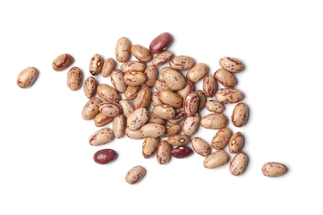 Dried pinto beans in a pile on a white background
