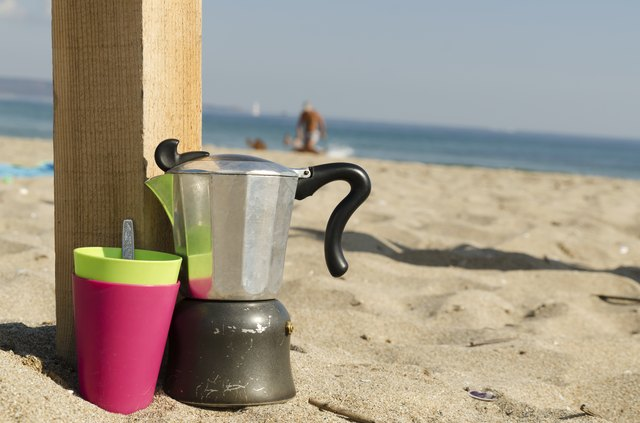 Coffee making on a beach
