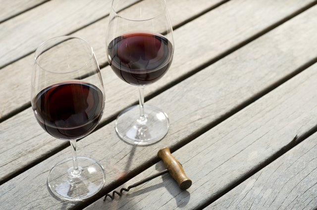 Red Wine On A Picnic Table