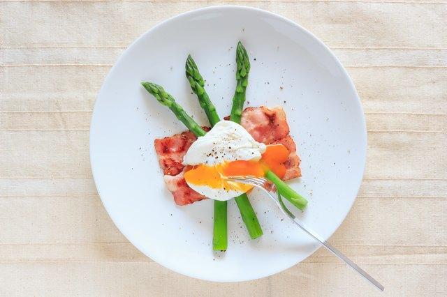 Poached egg on green asparagus