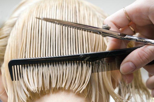 Blonde woman at hair saloon