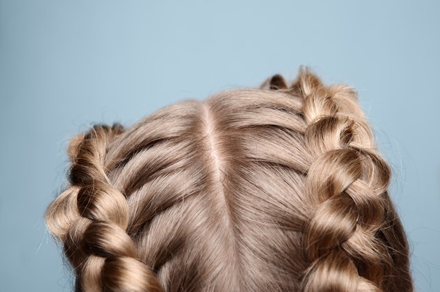 Close-up blonde hair with pigtails