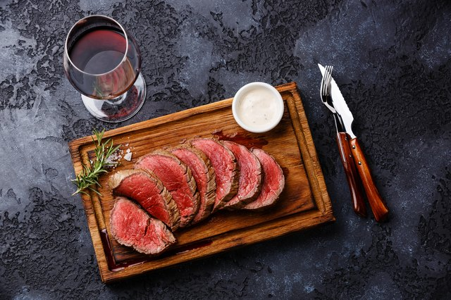 Sliced beef tenderloin