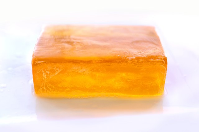 Orange Bar of Glycerin Soap Isolated on White