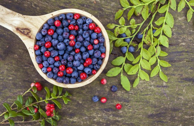 Blue-berries and cranberries in wooden bowl