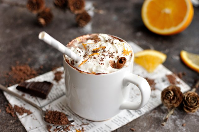 Hot chocolate with orange and whipped cream