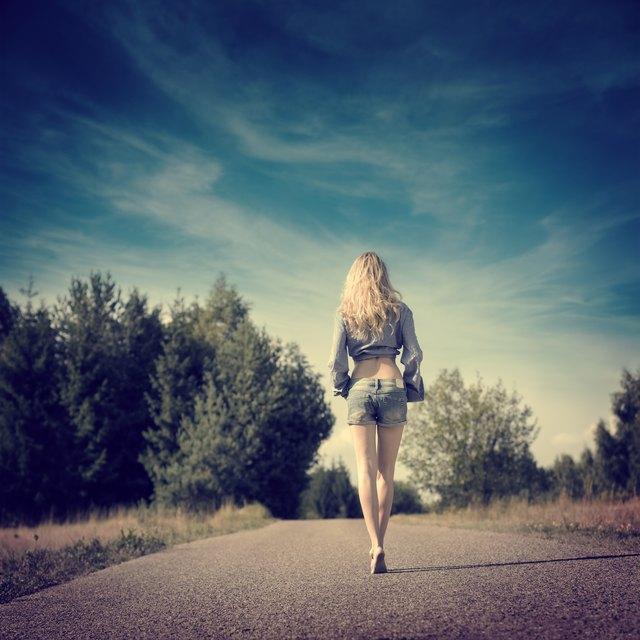 Sexy Blonde Girl Walking Away