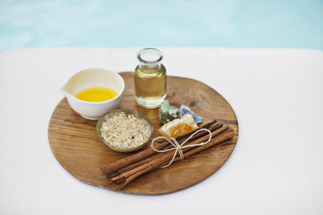 Bath salts and massage oils at poolside