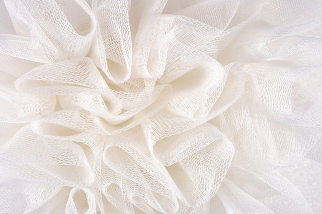 White crumpled tulle