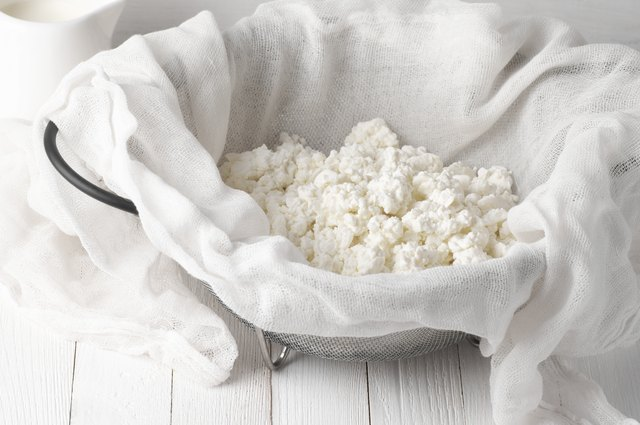 Cottage cheese in cheesecloth