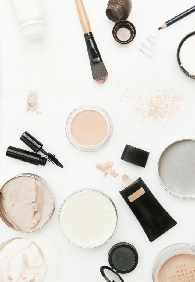 Different cosmetics products on the white