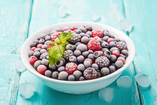 Plate of fresh frozen berries on a turquoise background