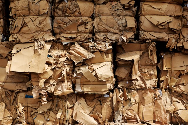 Bundles of cardboard ready for transport
