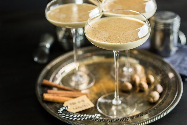 Eggnog cocktail in tall glasses