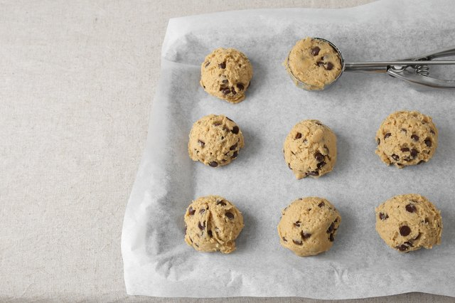 chocolate chip coconut cookies dough, selective focus