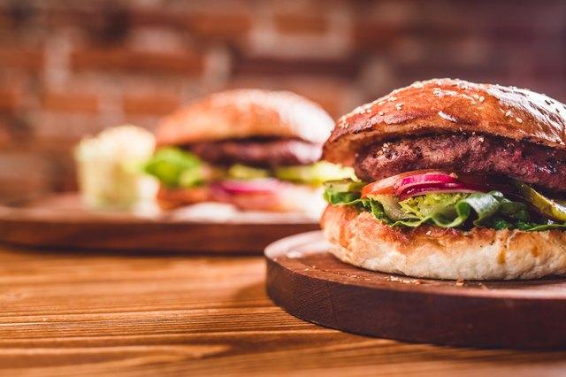 Closeup of home made burger