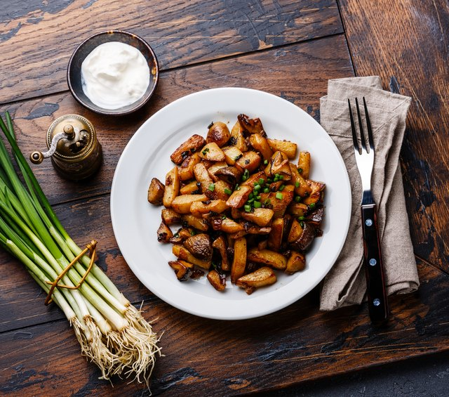 Fried potatoes roasted with Porcini wild mushrooms