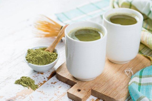 Matcha tea in white bowls