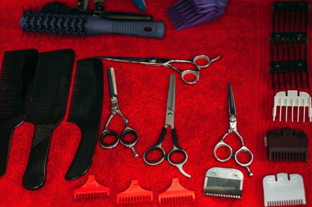 Work instruments of hairstylist on table