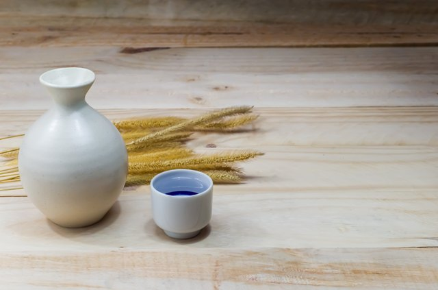 sake on wood background